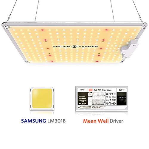 SPIDER FARMER SF-1000 LED Grow Light Used with Samsung LM301B LEDs Daisy Chain Dimmable Full Spectrum Grow Lights for Indoor Plants Veg Flower Greenhouse Growing Lamps with MeanWell Driver