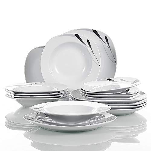 VEWEET série 'Kahla', Vaisselle de 18 pièces en porcelaine blanche, set de assiettes pour 6 personnes, chacune avec 6 assiettes à dessert, assiette creuse de 180 ml, assiette