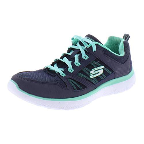Skechers Summits-New World, Zapatillas para Mujer, Azul (Navy Leather/Mesh/Turquoise Trim Nvtq), 39 EU