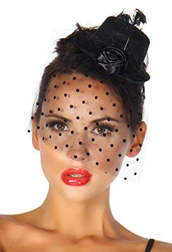 Burlesque Kostüm Karneval Fasching Mini-Hut Fascinator mit Netz-Schleier A12096-1, Schwarz, onesize (Sw 28)