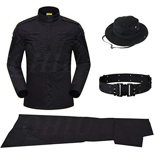 QHIU Uniforme Traje táctico con cinturón Boonie Hat BDU Combat Camisa y Pantalones de Camuflaje de Camuflaje para Hombres Ejército del Ejército para Airsoft Paintball al Aire Libre