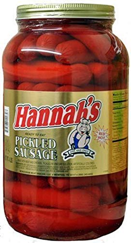 Hannah's Pickled Sausage Red Hot 1 Gallon plastic container 4lbs 39 count