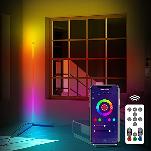 Smart Alexa RGB Corner Floor Lamp, SAUDIO Color Changing Modern Floor Lamps for Living Room/Bedrooms, 56'' Tall Dimmable Upright LED Floor Lamp with Remote, Compatible with Alexa/Google Assistant