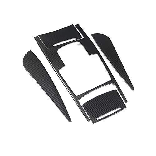 HTSM Für Audi A6 C5 C6 C6 2005-2011 Carbon Faser Edelstahl Getriebeabdeckung Air Outlet Keyhole Aufkleber Auto-Innenzierbeschläge (Color : Schwarz)