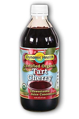 Dynamic Health 100% Unsweetened Pure Organic Certified Tart Cherry Juice Concentrate, 16-Ounce Glass Bottle
