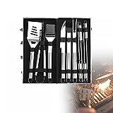CSYHJRS Edelstahl-Grillwerkzeug-Set, 20-Teiliges BBQ-Grillwerkzeug-Set mit Geschenkverpackung, Perfektes Grillgeschenk zum Vatertag, Weihnachten, Geburtstag