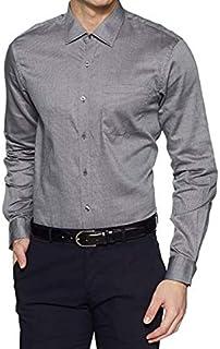 BANN HUFF Men's Cotton Formal Full Sleeve Regular Fit Shirt (Grey, Medium)