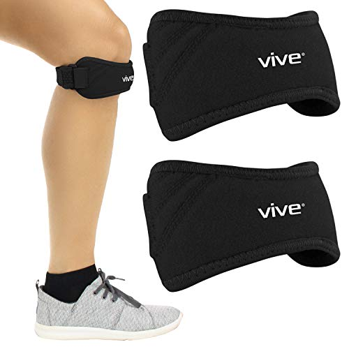 Vive Below Knee Brace - Osgood Schlatter Patella Strap Stabilizing Tendon Support for Men and Women - Arthritis Compression Stabilizer for Tendonitis, Running, Gym Exercise - Pain Relief for Torn ACL