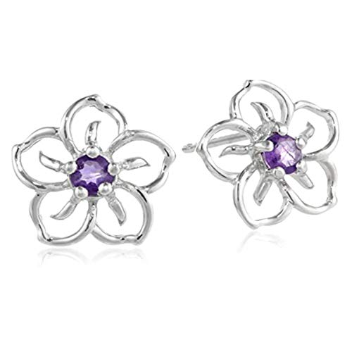 Gemsonclick Natural Amethyst Flower Stud Earring 925 Sterling Silver Purple Gemstone For Girls and Woman (Stone: 0.25 Carat)