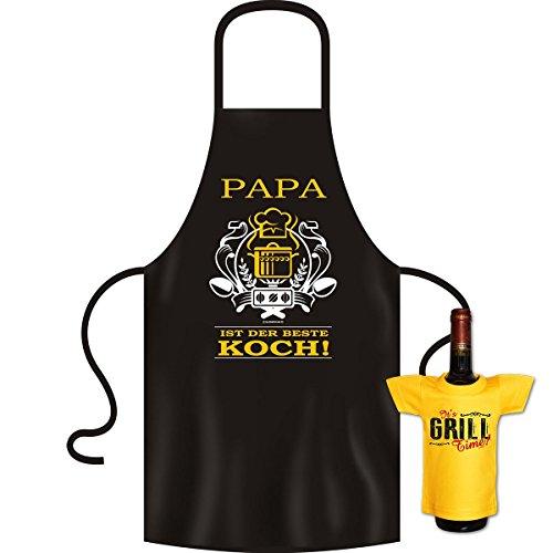 Nützliches Papa ist der beste Koch - Geschenke Set für Männer - Kochschürze mit Mini Shirt It´s Grill Time Accessoires