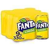 Fanta Limón - Refresco con 6% de zumo de limón Bajo en calorías - Pack 9 latas 330 ml...