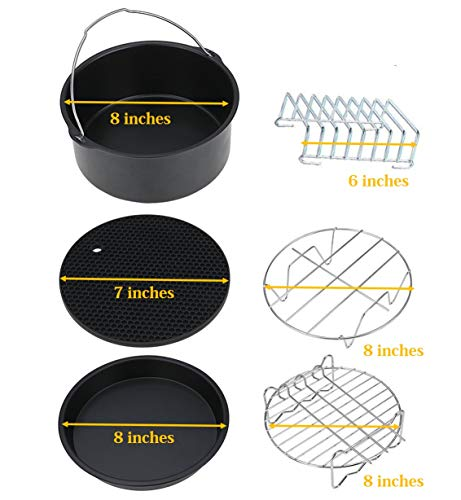 Air Fryer Accessories, 6-pieces -8 inches Premium Air Fryer Accessories Set for Gowise, Phillips, Cozyna and More Brand, Fit all 3.7QT &5.3QT &5.8QT- 4 pieces of 6 are 8 inches and 7 inches 6 inches