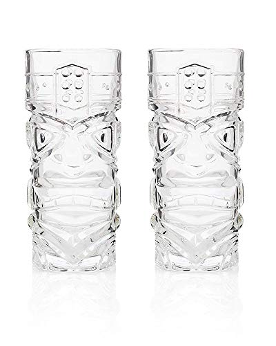 BAYUE Prima de 15 oz (450 ml) de Jugo de Cristal Tiki Tiki Vaso Resistente Tall Glass (Capacity : 450ml, Color : Pack of 4)