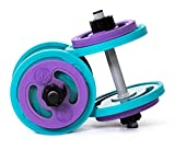 Booty Bands Adjustable Dumbbells, Set of 2, for Women, with (4) 3lb. Purple Weight Plates, (4) 5lb. Teal Weight Plates - Bright Hand Weights Sets for Women - Premium Women's Weights for Home Gym