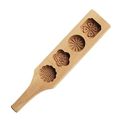 Muffin-Cups, 4Blumen-Holz-Mondkuchen-Formen