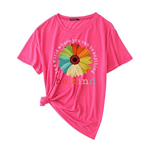 Camiseta feminina Be Kind com estampa de margarida, camiseta feminina envelhecida Black Lives Matter Camisetas BLM, Vermelho rosa, XL