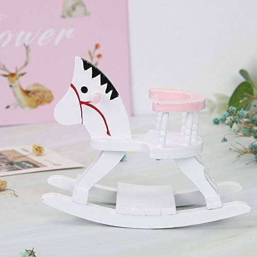 xinxinmaoyan Set di Mobili per Casa delle Bambole, 3 Pezzi Mini Culla Sedia per Girello con Cavallo da Roccia Modello di Mobili per Cameretta 1/12 Miniature per