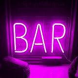 Letrero de neón de barra rosa Letreros de pared de neón LED Luz de neón grande con letras Luz de neón de noche USB para bar Hotel Sala de juegos interior Cóctel Fiesta de cerveza Navidad Letrero