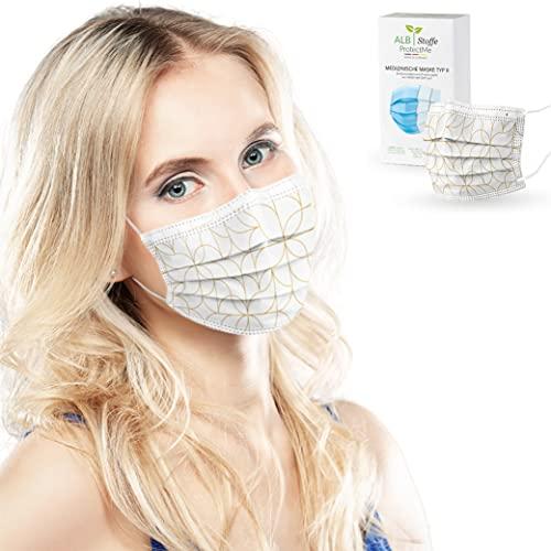 ALB Stoffe® ProtectMe - OP Masken GOLDEN WAY, 100% Made in Germany, zertifizierte medizinische Mund-Nasen-Masken bedruckt, 20er Pack
