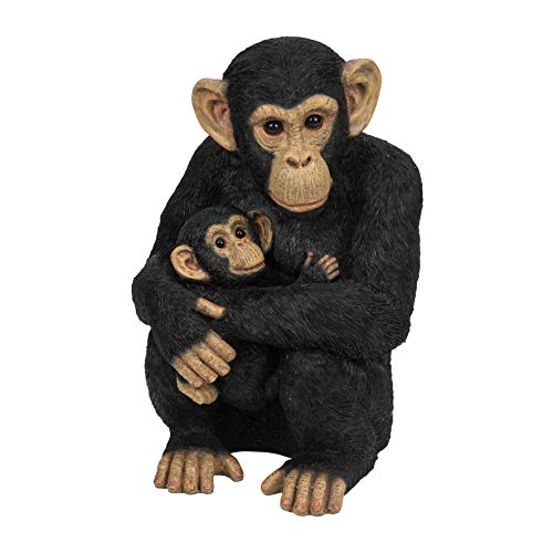 Chimpanzee with Baby Monkey Figurine Ornament Resin Indoor/Garden 35cm