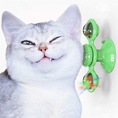 KRY Windmill Cat Toy with Catnip Ball and LED Ball Turntable Teasing, Funny Kitten Windmill ball Massage Scratch Brush (Green)