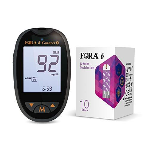 FORA Blutzuckermessgerät (mg/dl) set mit 10 pcs β Keton Teststreifen, Schmerzfrei Schnell, Wenig Probenvolumen und sicher, Selbsttest, Low Carb Diät, kompatibel mit allen FORA Messgeräten. *6