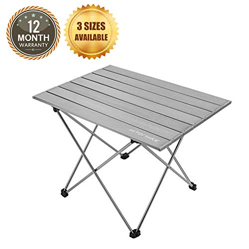 Hitorhike Camping Tables with Aluminum Table Top Ultralight Camp Table with Carry Bag for Indoor Outdoor Backpacking BBQ Beach Hiking Travel Fishing Frost Gray Small
