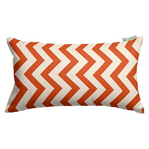 "Majestic Home Goods Burnt Orange Chevron Indoor / Outdoor Small Throw Pillow 20"" L x 5"" W x 12"" H"
