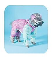 オーバーオール犬レインコート透明フードジャンプスーツDIY小型犬ペット防水服テディベア屋外レインコート-standard style-XL