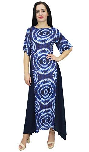 Bimba Frauen Shibori Printed Rayon-Sommer-beiläufig Boho Ferien Maxi-Kleid-56