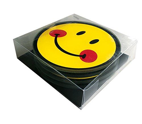 Zak! Designs 6727-025 Smiley Set de 4 Dessous de Verre, Jaune