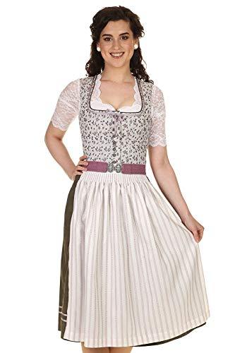 Countryline Damen Dirndl Midi festlich, Dirndl kurz geblümt 70cm 41401/7 hellgrau Gr.36