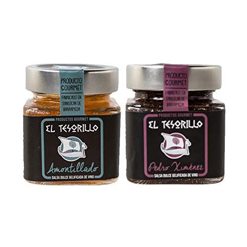 Pack de Mermeladas de Vino Amontillado y dulce Pedro Ximenez - 2 tarros de 150 g cada uno - Mezclanza El Tesorillo Gourmet