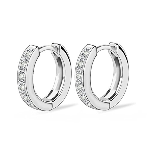 SavingMart Cubic Zirconia Earrings Small Hoop Round Rhinestones Earring for Women Girls Fashion Jewelry (Silver Plated)