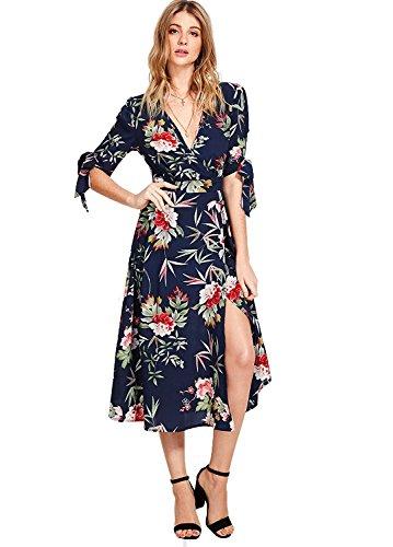 Milumia Women's Boho Deep V Neck Floral Chiffon Wrap Split Long Maxi Dress Navy-1 Large
