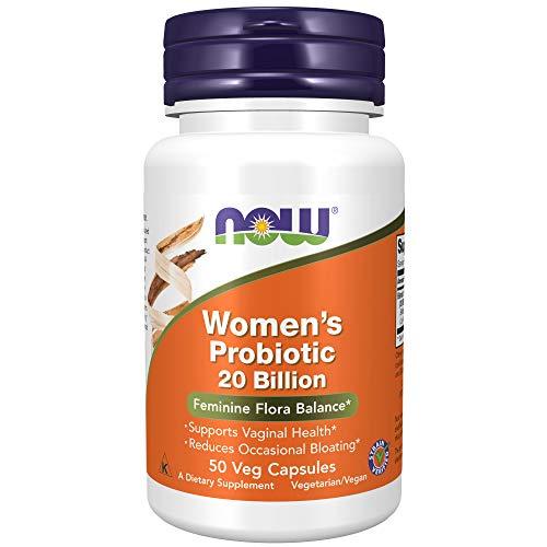 Suplementos NOW, probiótico feminino, 20 bilhões, especialmente formulado usando três variedades probióticas clinicamente testadas, 50 cápsulas vegetais