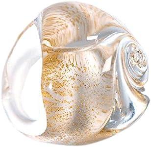 PR Lampwork Anillo de rosa de cristal de Murano con hoja de oro, elaboración artesanal