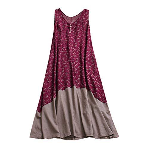 Women Vintage Patchwork Dress Casual Loose Boho Long Plus Size Retro Maxi Dress