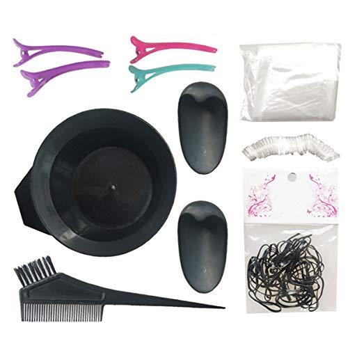 JINJIANG 8PCS Kit de Coloration des Cheveux, avec Pinceau Bol Pour Coloration,Gant, Bande de Caoutchouc, Cache-Oreilles, Bouchon,Brosse, Pince à Cheveux, Châle, Bonnet de Douche, Noir