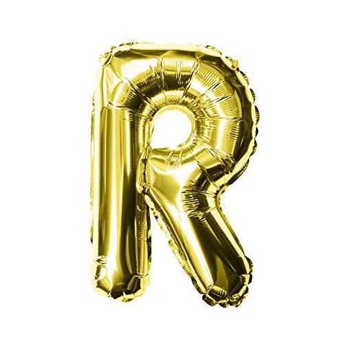 Oblique Unique® Folien Luftballon alle Buchstaben Alphabet ABC Herz Stern in Gold für Geburtstag Jubiläum goldene Hochzeit JGA Party Deko Folienballon - wählbar (Buchstabe R)
