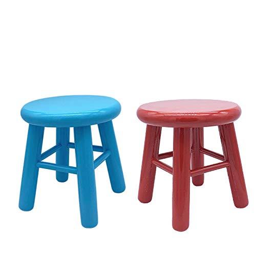 REGGO - Set Dos Taburetes de Madera Natural Pintado Color Infantil 20 x 20 x 23 cm, Taburete Bebé clásica Gracioso niños (Rojo Y Azul 2UDS)