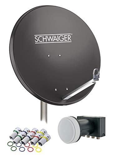 SCHWAIGER -548- Sat Anlage, Satellitenschüssel mit Quad LNB (digital) & 8 F-Steckern 7 mm, Sat Antenne aus Aluminium, Anthrazit, 74,5 x 84,5 cm
