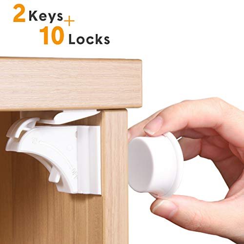 Baby Proofing Child Safety Cabinet Locks by NANAPLUMS Magnetic Baby Locks for Kitchen Drawers, Cupboards & Closets (10 Locks+2 Keys) with Extra-Strong Supporter