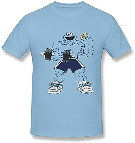 HDLGISZO Men's Dumbbell Cookie Monster Performance Active Graphic T-Shirt Soft SkyBlue,Blue,M
