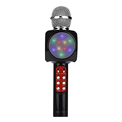 Wireless Bluetooth Karaoke Microphone With Multi-color LED Lights,Portable Handheld Home Party Karaoke Speaker Machine For Android/iPhone/iPad/Sony/PC Or All Smartphone Home, Party Singing