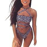TOPKEAL Damen Bikini Set Leopardenmuster Kreuz Swimsuits Push up Bademode Weiches Beachwear Strandkleidung Badekleid Mit Tangas Mode 2020 (Lila, Small)