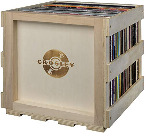 Crosley AC1017A-NA Stackable Record Storage Crate Holds up to 40 Albums, Natural