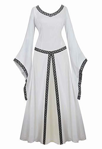 jutrisujo Mittelalter Kleid Renaissance mit Trompetenärmel Party Kostüm bodenlang Vintage Retro Costume Cosplay Damen Weiß M