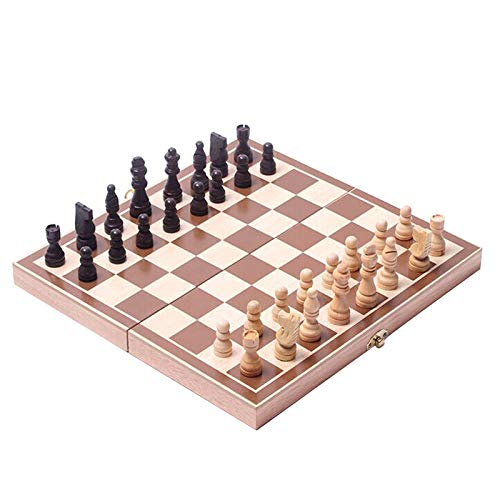 MoneRffi 3 in 1 Large Size Folding Wooden Chess Set Board Game Checkers Children's Educational Games with Portable Folding Interior Storage(as the picture,11.4 * 11.4 in (29 * 29cm))