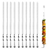 FANSIR Kebab Skewers, Set of 10 Stainless Steel BBQ Grilling Skewers Flat Reusable Metal Skewer Sticks for BBQ, Cocktail, Shish Kabob, Party Essentials, 38cm